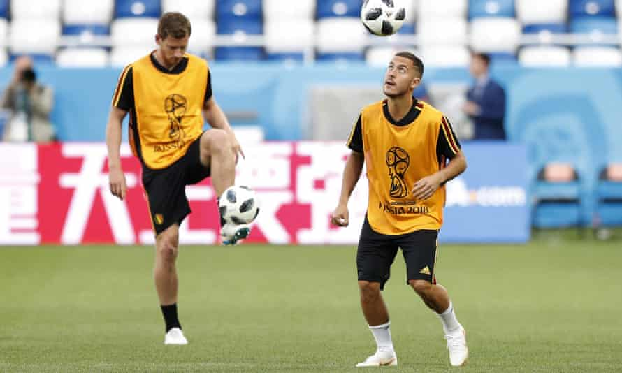 Eden Hazard (right) has requested to stay in Belgium's side to face England, but Roberto Martínez may change every other player.