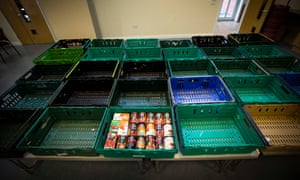 Empty baskets at a food bank run by the Salvation Army in Preston, Lancashire.