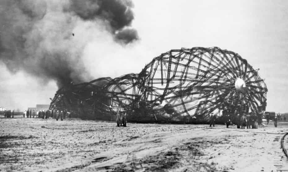 The burning shell of the Hindenburg after the disaster at Lakehurst, New Jersey, on 6 May 1937