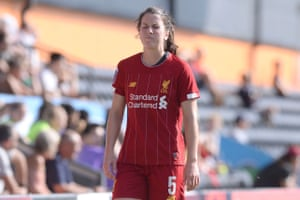 Niamh Fahey of Liverpool Women reacts to being sent off.