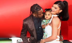 Kylie Jenner with former partner Travis Scott and their daughter Stormi Webster.