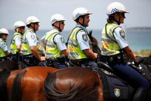 Mounted police formed a buffer zone, preventing the protestors and the patriots from being able to see or hear one another.