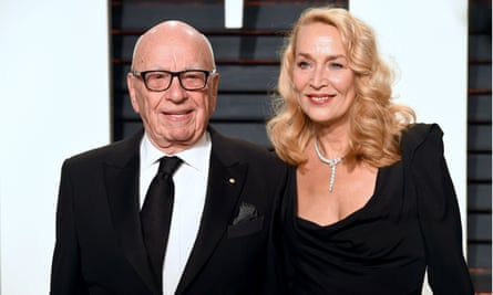 Rupert Murdoch and his wife Jerry Hall attend Vanity Fair's Oscars party.