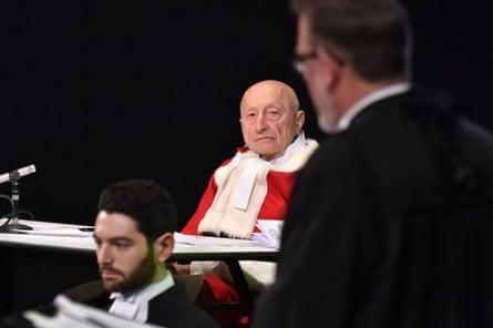 Jeremy McWilliams, the Hon Prof George Hampel AM QC, R John Champion SC in Please, Continue (Hamlet).
