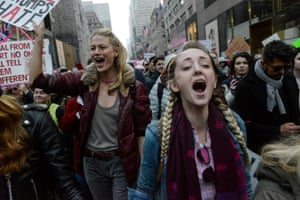 Protesters at a Women's March against Donald Trump in New York City on 21 January