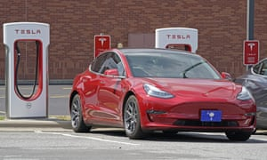 Red electric car