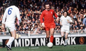 Tommy Smith playing for Liverpool against Leeds United in the 1974 Charity Shield at Wembley.