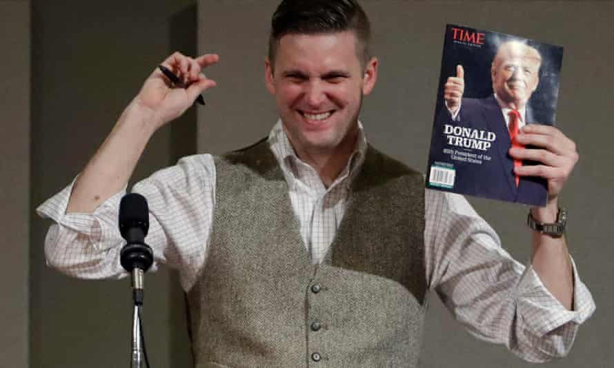 """Richard Spencer, a prominent """"alt-right"""" figure, was punched while giving an interview, spawning the 'punch a Nazi' meme – and ethical debates about violence in political discourse."""