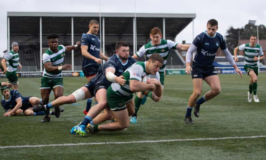 Ealing, pictured against Bedford Blues last February, take on Saracens in the new Trailfinders Challenge Cup on Saturday.