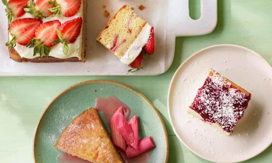 Helen Goh's strawberries and cream cake, Claire Ptak's jam sheet, and Jeremy Lee's yoghurt, almond and honey cake. Food styling Jules Mercer