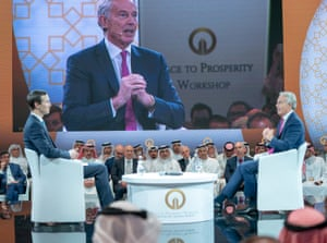 Jared Kushner and Tony Blair at the Peace to Prosperity conference in Bahrain.