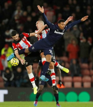 Southampton's Shane Long and Oriol Romeu in action with West Ham United's Sebastien Haller, who scored the only goal of the game.