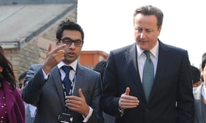 Sajid Hussain Raza, founder of Kings science academy in Bradford, with David Cameron in 2012.