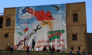 A poster supporting the Kurdish independence movement.