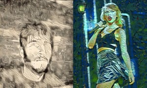 Alex Hern in the style of Rembrandt, and Taylor Swift in the Style of Picasso