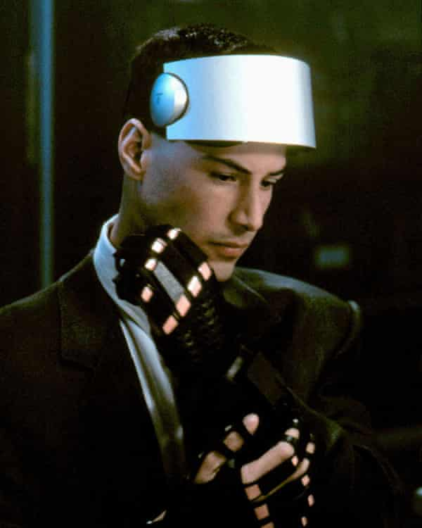 In Johnny Mnemonic, Keanu Reeves plays a 'mnemonic courier' with a data implant in his brain, whose mother has been uploaded to a virtual internet.