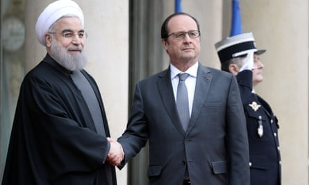 The Iranian president, Hassan Rouhani, meets French president François Hollande
