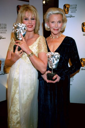 Honor Blackman and Joanna Lumley at the BAFTAs in 2000