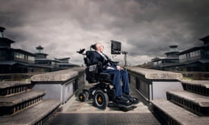 Stephen Hawking on top of a building, with a moody, foreboding sky all around
