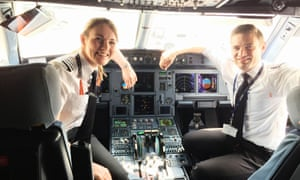 Kate McWilliams in the cockpit of a plane