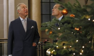 Britain's Prince Charles, left, admiring the Bank of England's Christmas tree with Governor Mark Carney last week.