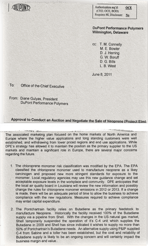 Excerpts from internal documents preceding the sale of the DuPont plant.