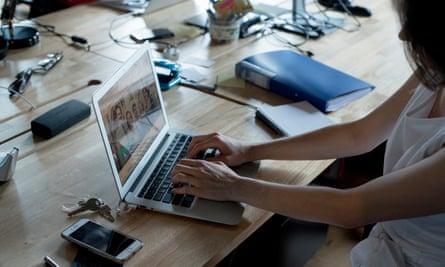 Julia Salasky posed at her laptop