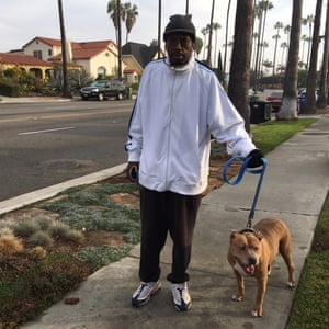 Mike Young, 56, with dog.