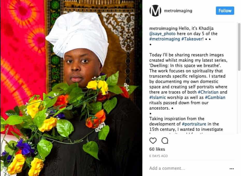 Self-portrait of Khadija Saye posted on Metro Imaging Instagram when she took it over from 6 to 11 June 2017.