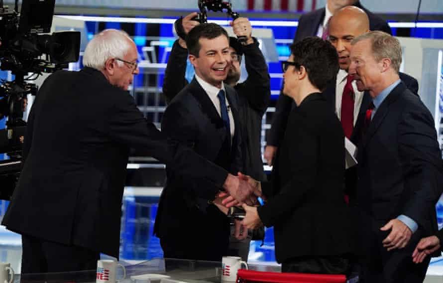 Rachel Maddow with Democratic presidential candidates Bernie Sanders, Pete Buttigieg, Cory Booker and Tom Steyer after a debate on 20 November