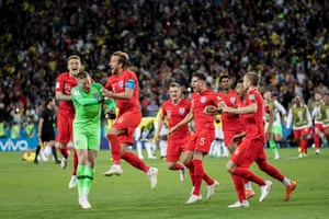 Kieran Trippier and Harry Kane celebrate with Jordan Pickford after England finally won a World Cup penalty shootout when beating Colombia at Spartak Stadium.
