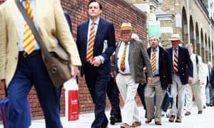 MCC members arrive at Lord's.