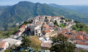 Aerial view of Colobraro, often described as the most cursed town in Italy.
