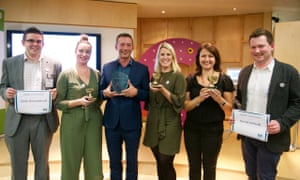 (l-r): Andy Broomhead (highly commended, best senior leader); Clare Laxton (best rising star); Matthew Hodson (overall winner); Kirsty Marrins (best trustee); Lara Burns (best digital leader); David McNeill (highly commended, digital leader).