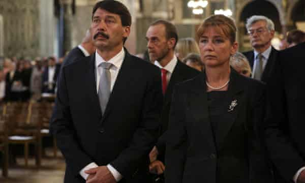 Hugary's president János Áder and his wife Anita Herczegh at Westminster Cathedral.