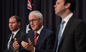 Josh Frydenberg, Malcolm Turnbull and Matt Canavan