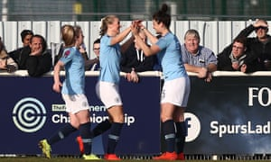 Gemma Bonner celebrates scoring Manchester City Women's third goal at Tottenham Hotspur Ladies in their Women's FA Cup tie