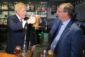 Pulling power. UK Prime Minister Boris Johnson and newly elected Conservative party MP for Sedgefield, Paul Howell