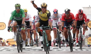 Dylan Groenewegen celebrates after pipping his rivals to the line on stage seven