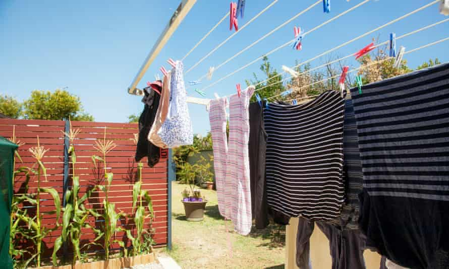 Hanging out and folded washing