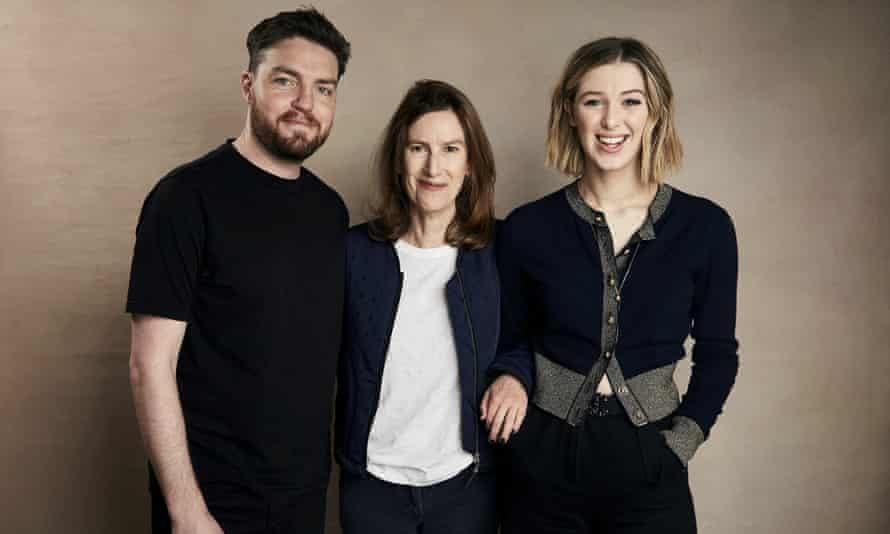 Joanna Hogg (centre), with the stars of her new film, The Souvenir, at Sundance.