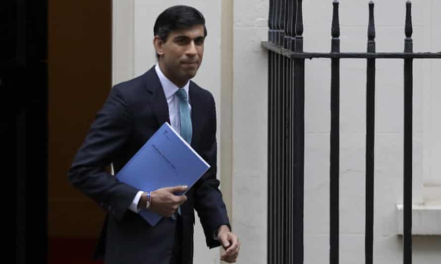 Britain's Chancellor of the Exchequer Rishi Sunak leaves Downing Street in London.