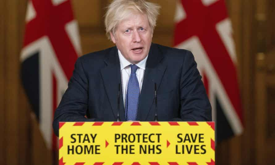 Boris Johnson during a media briefing on Covid in Jauary 2021.