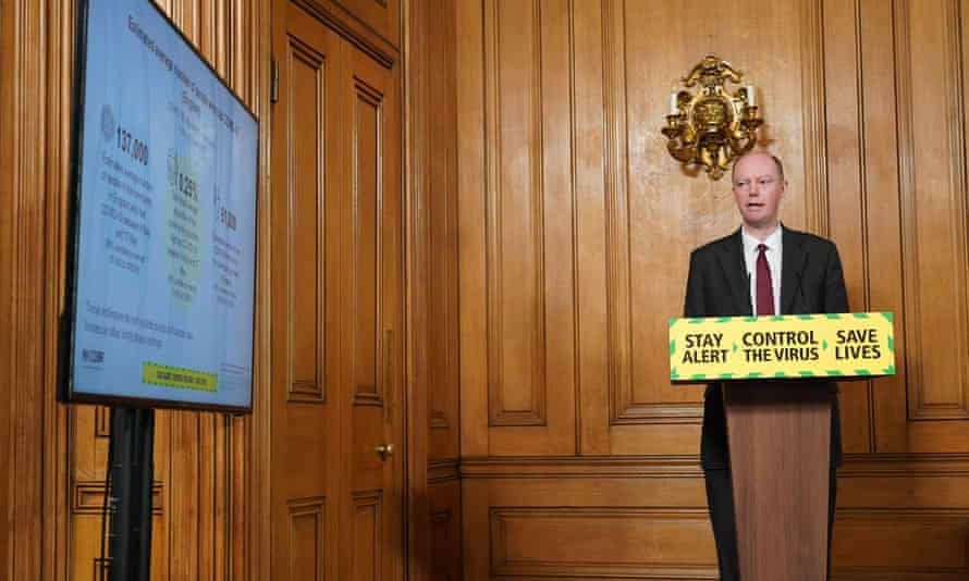 Chris Whitty at a remote press conference to update the nation on the Covid-19 pandemic on 21 May in Downing Street