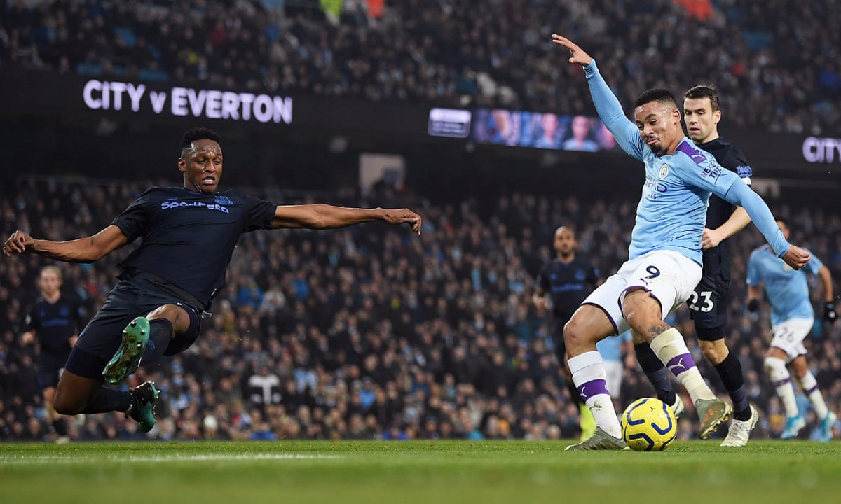 Gabriel Jesus strikes twice to steer Manchester City past Everton |  Football | The Guardian