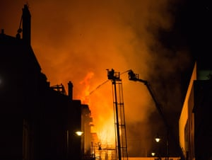 Firefighters used a variety of equipment to tackle the blaze.