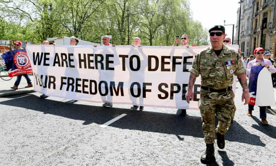 Thousands march in 'free speech' protest led by rightwing figures | The far  right | The Guardian