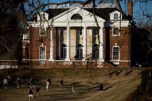 Students play soccer on the Madison Bowl field of the University of Virginia (UVA) campus next to the Phi Kappa Psi fraternity in Charlottesville, Virginia.