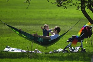 A man and a toddler in Primrose Hill, London