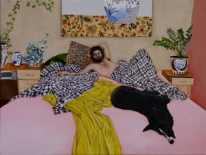A man in bed with his dog (A portrait of Iain Dean)